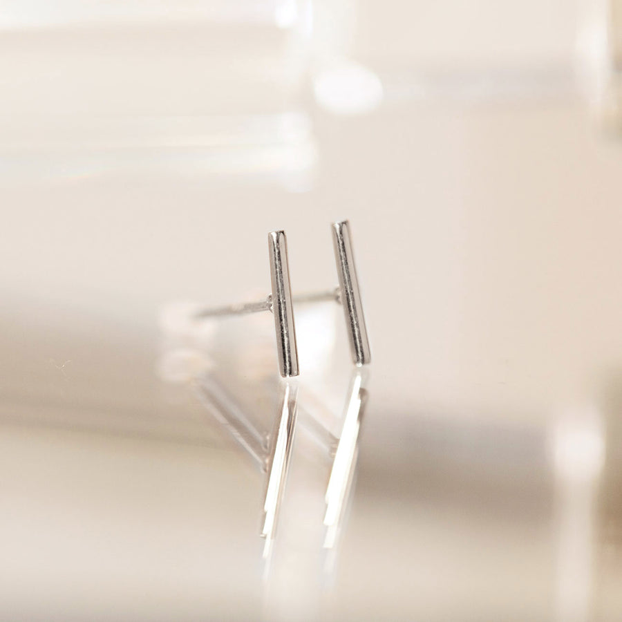 Bar Studs-14K White Gold