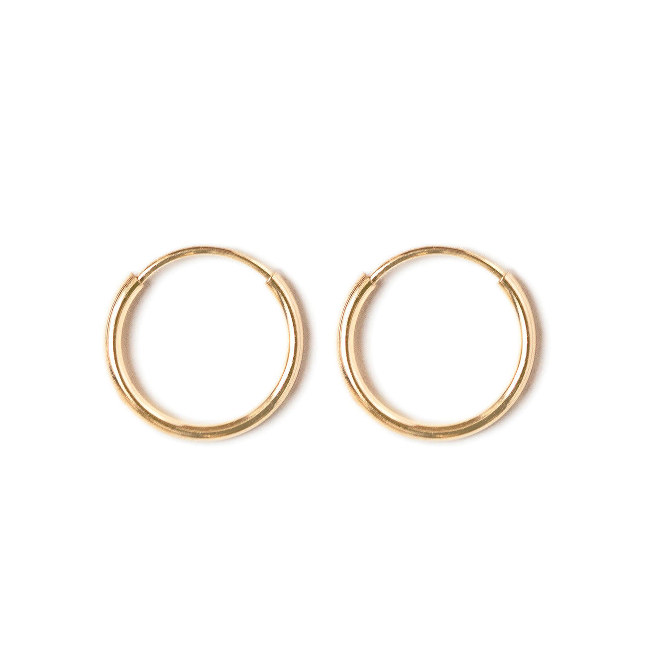 14k gold thin endless huggie earrings