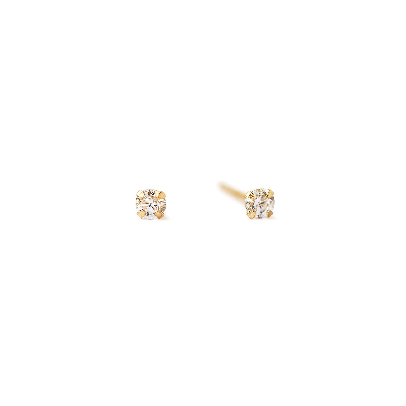 Tiny 14K Gold Crystal Stud Earrings