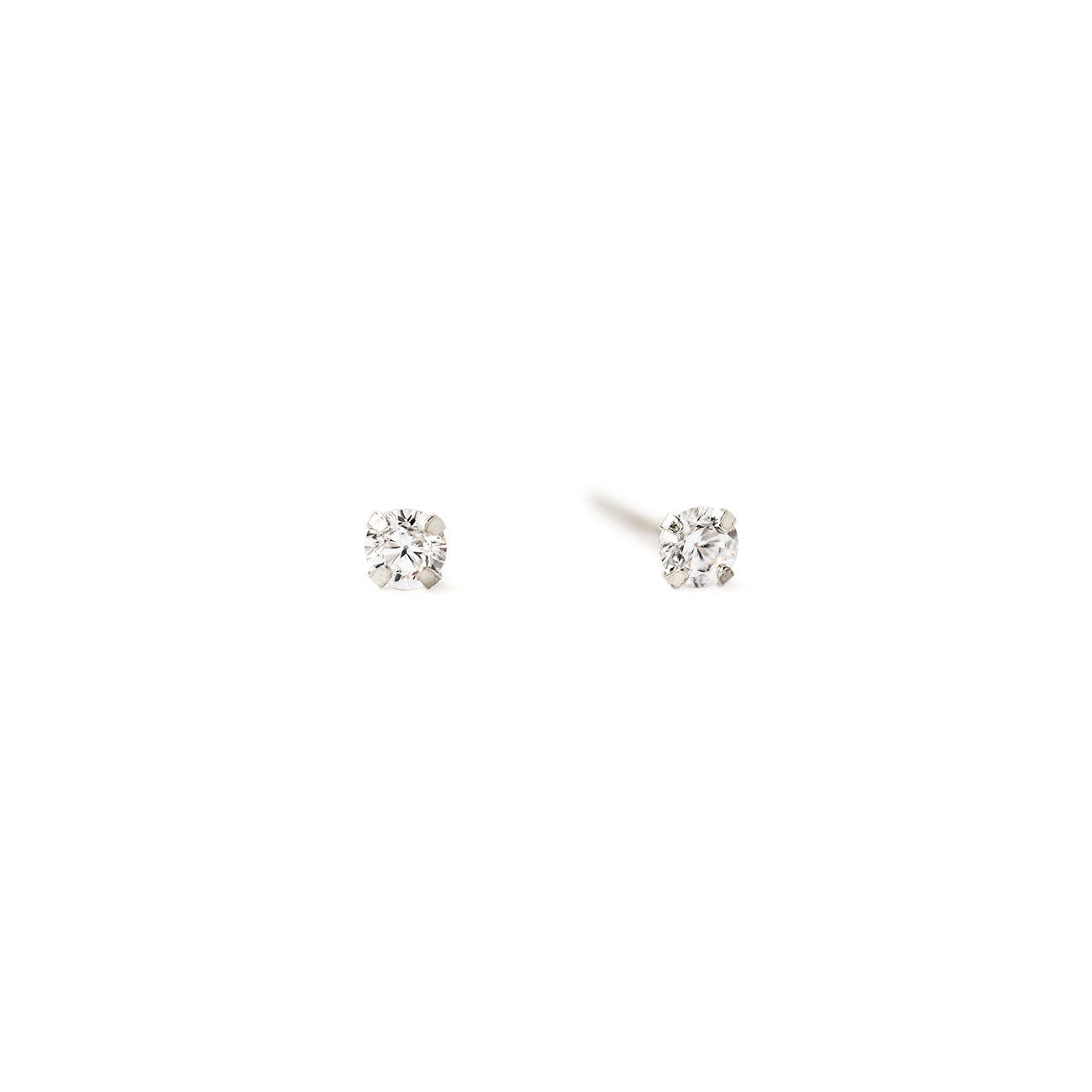 Tiny 14K White Gold Crystal Stud Earrings