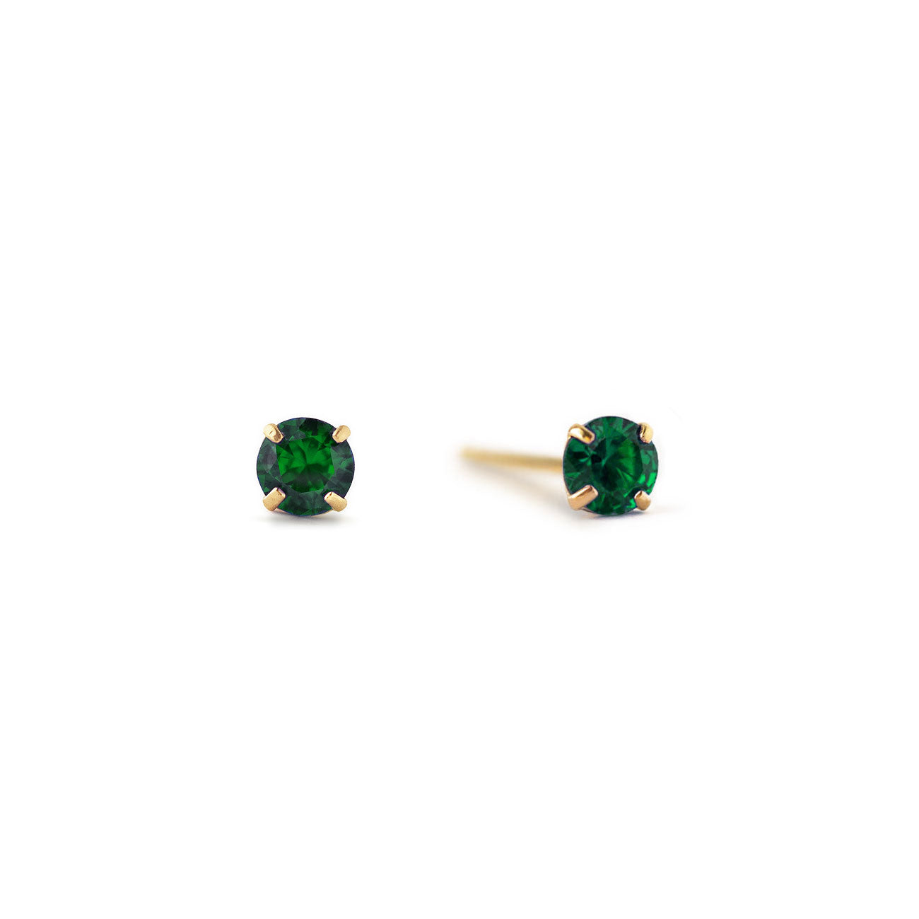 Tiny Emerald Green Studs