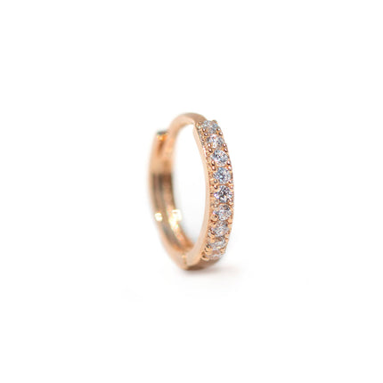 Single Thin Pave Huggie 14K