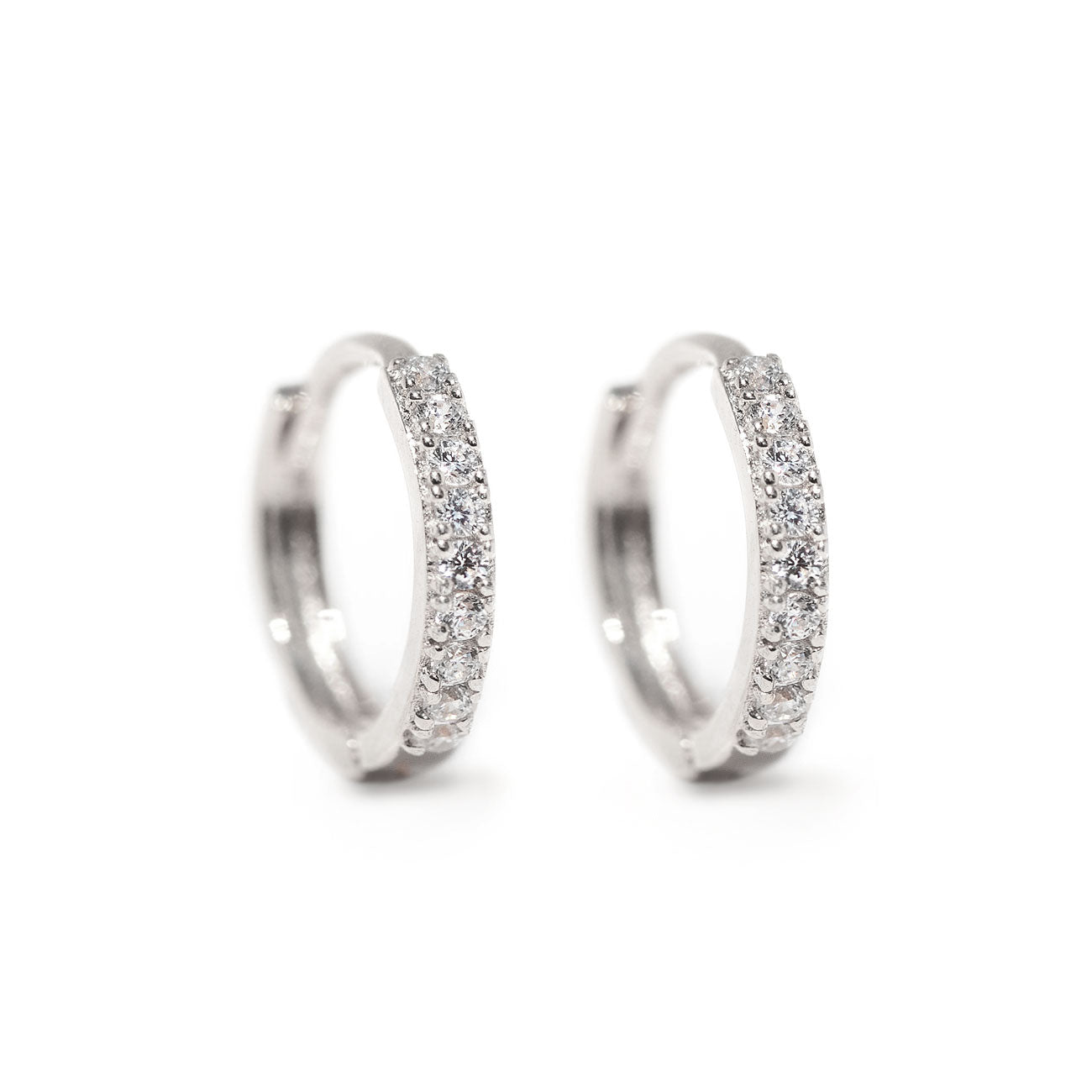 Thin Pave Huggie Hoops