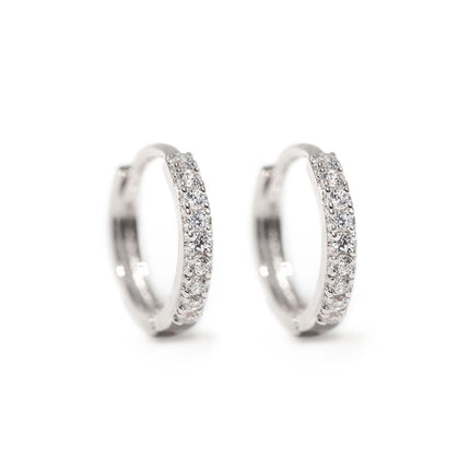 Thin Pave Huggie Hoops 14K