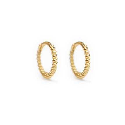 Small Rope Huggie Earrings 14K