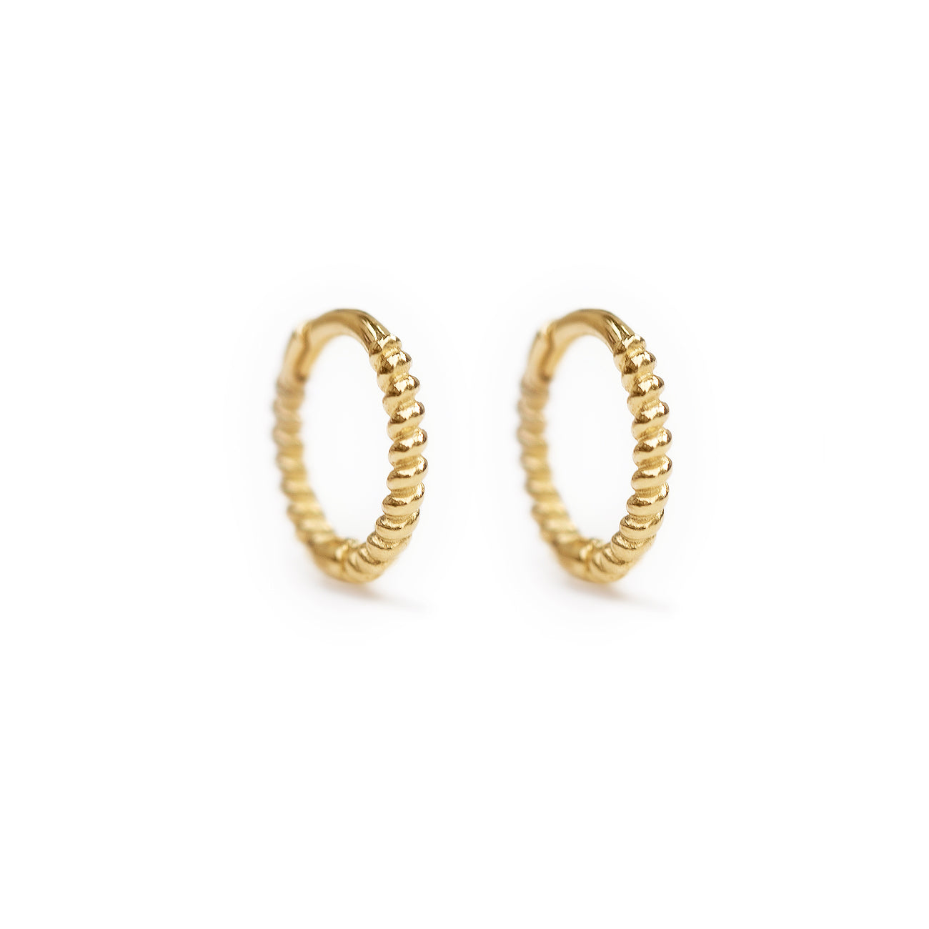 Gold Small Rope Textured Gold Huggie Earrings