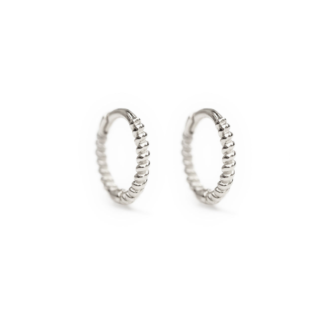 White Gold Texture Rope Huggie Hoop Earrings