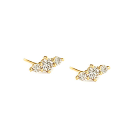 Trio Bar Pave Studs 14K