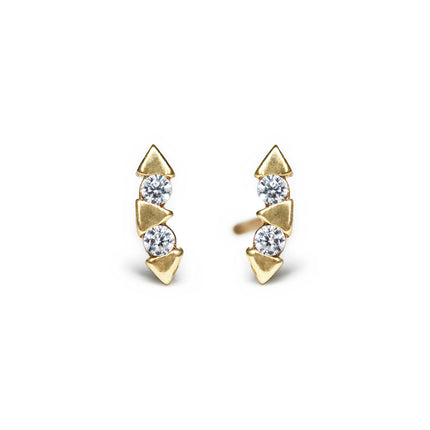 Solid Gold Tiny Triangle Bar Studs