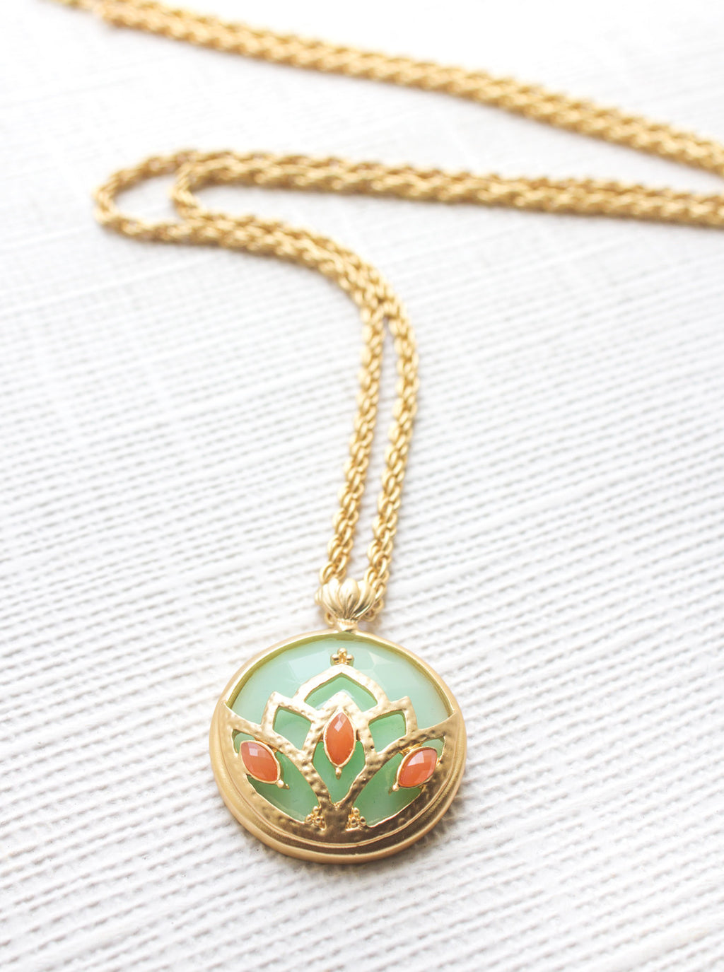 Mint Lotus Pendant,  - AMY O. Jewelry