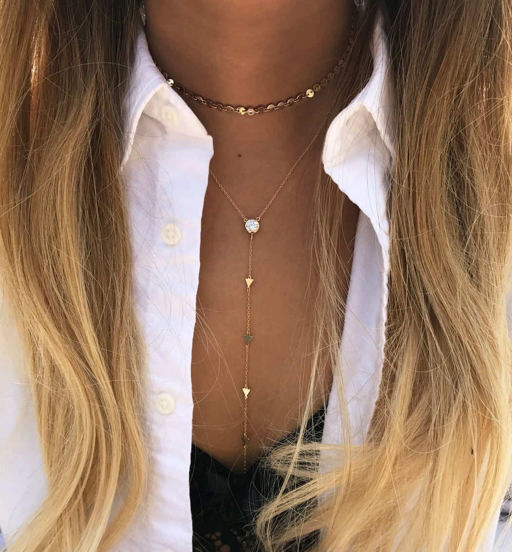Triangle Lariat Necklace, Necklaces - AMY O. Jewelry