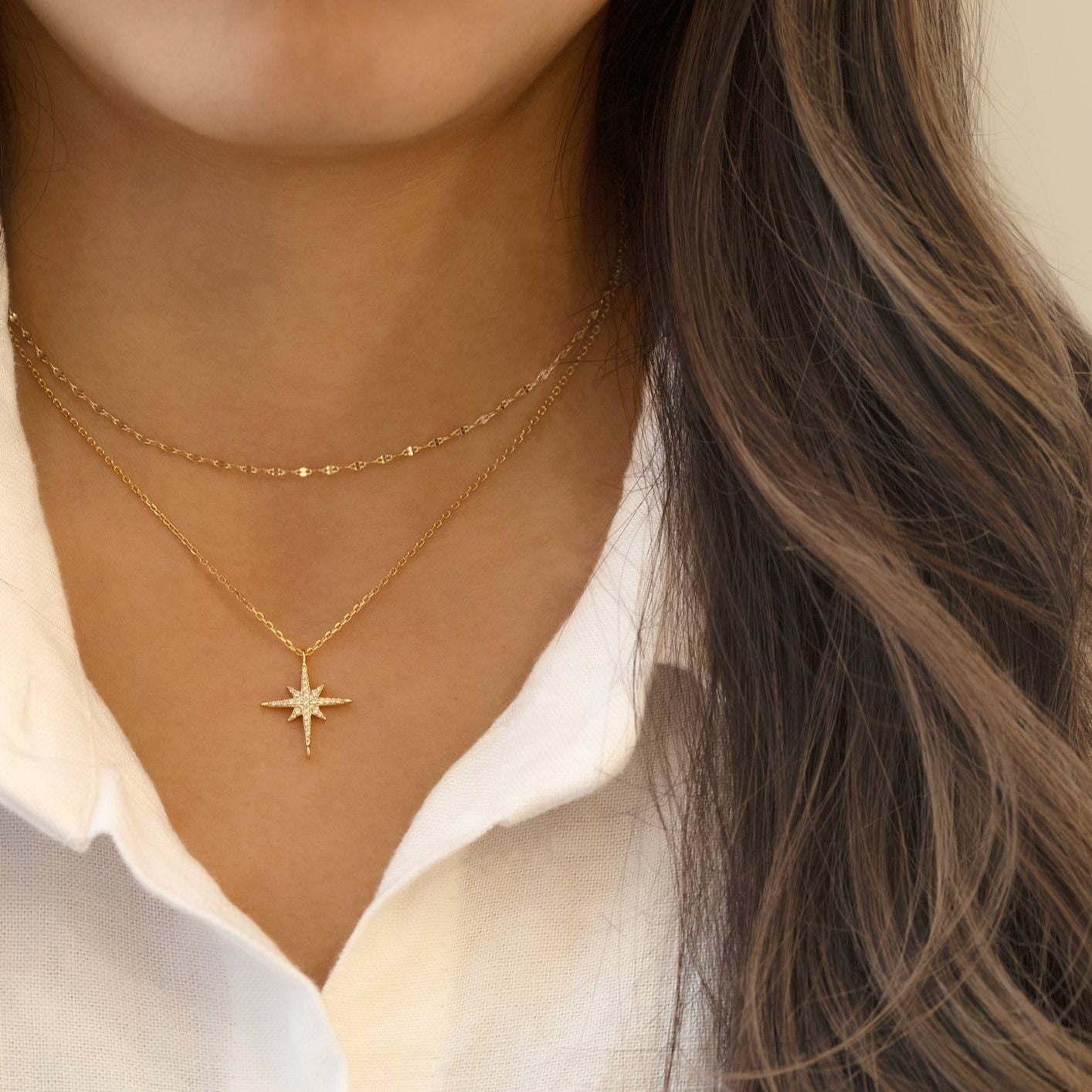 Gold Choker Star Layered Necklace