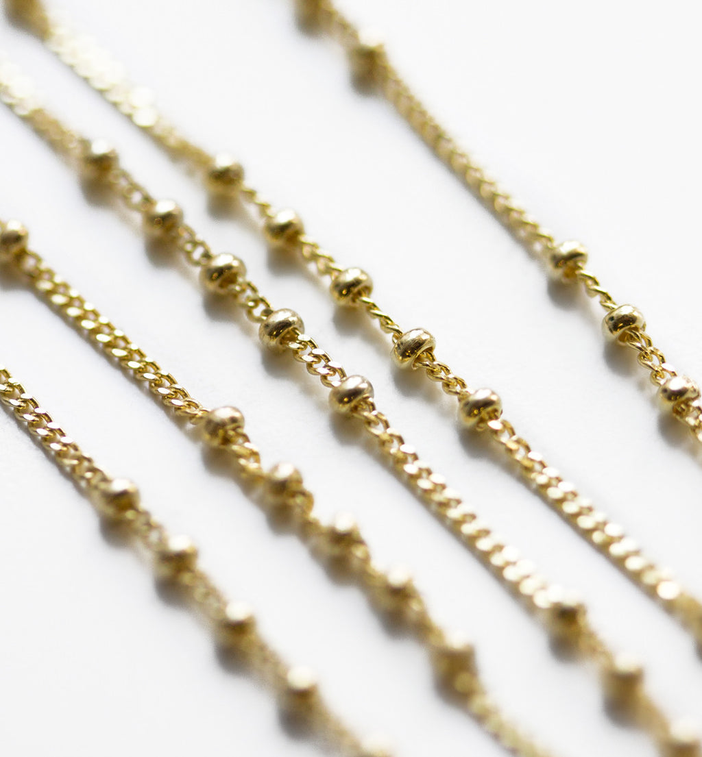 Chloe Cinq Beaded Chain Choker in Gold, Necklaces - AMY O. Jewelry