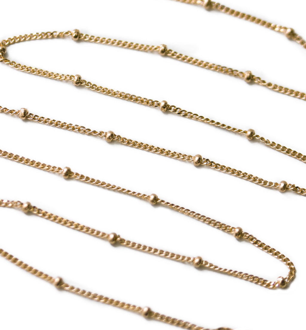 Celine Curb Chain Beaded Choker in Gold