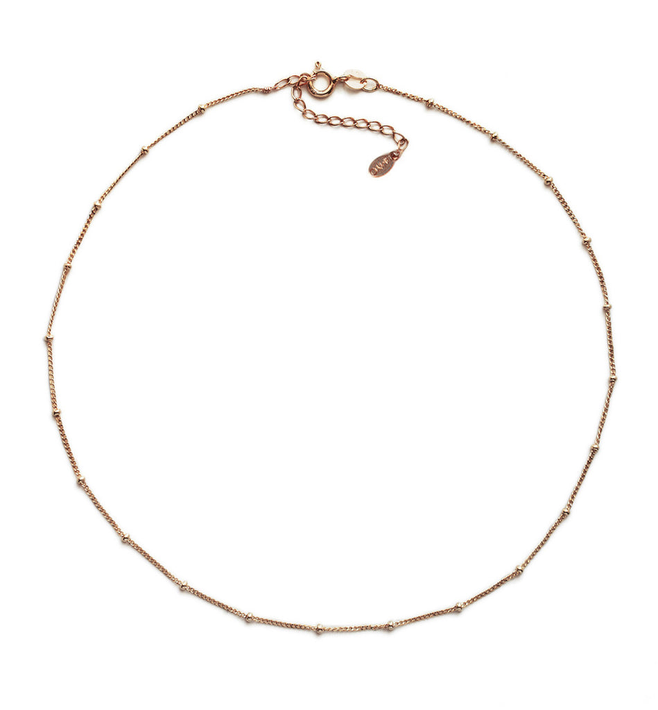 Celine Curb Chain Beaded Choker in Rose Gold