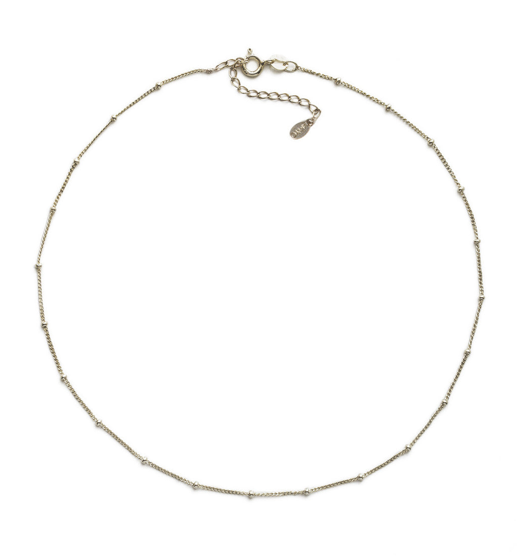 Celine Curb Chain Beaded Choker in Silver