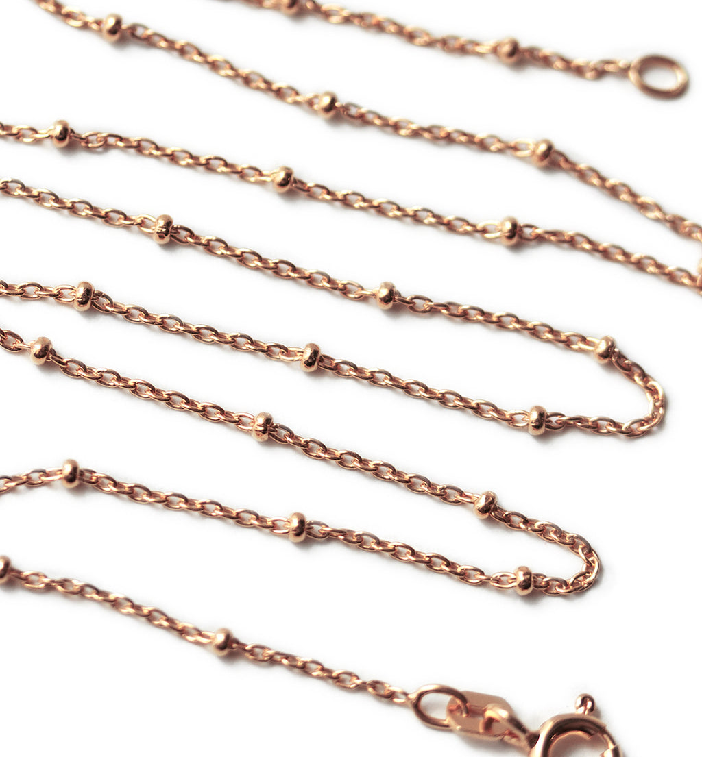 Chloe Bead Chain Choker in Rose Gold, Necklaces - AMY O. Jewelry