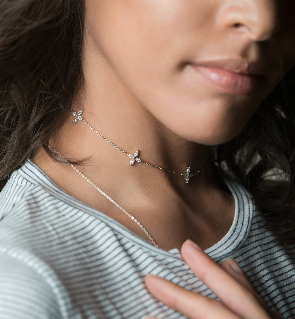 Sophia Fleur Silver Choker Necklace, Necklaces - AMY O. Jewelry