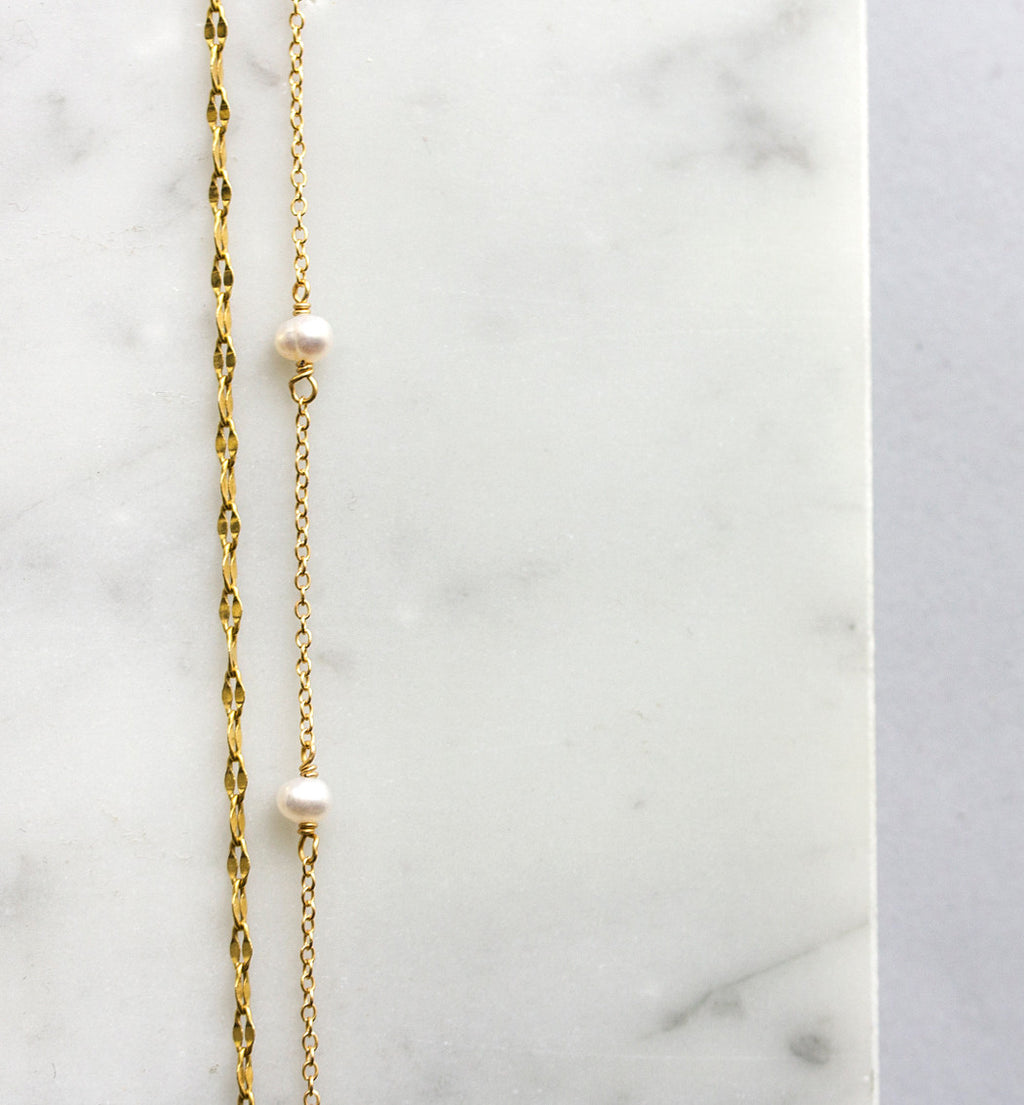 Pearl Choker in Gold, Necklaces - AMY O. Jewelry