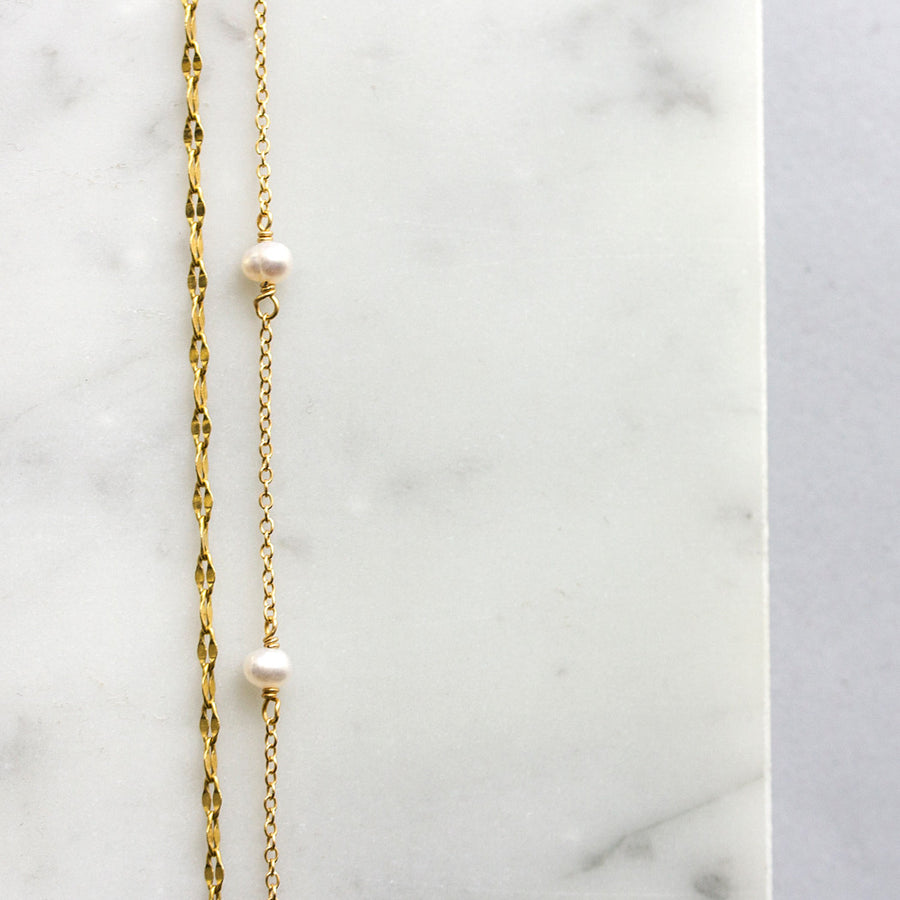 Lacey Link Pearl Choker, Necklaces - AMY O. Jewelry