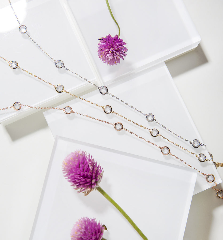 Sienna Petite Crystal Rose Gold Choker, Necklaces - AMY O. Jewelry
