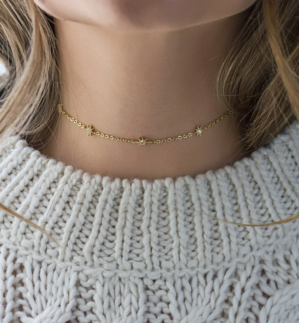 Stella Star Gold Choker, Necklaces - AMY O. Jewelry
