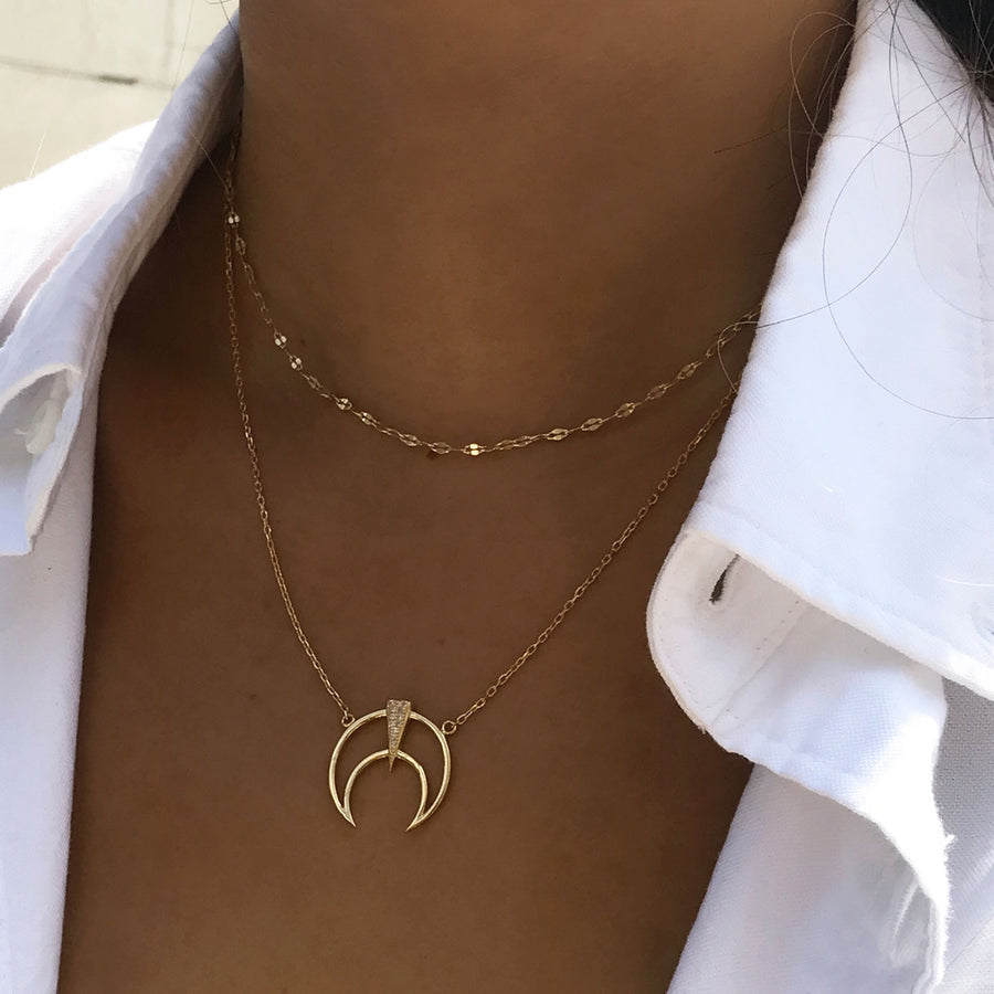 Crescent Pendant Necklace, Necklaces - AMY O. Jewelry