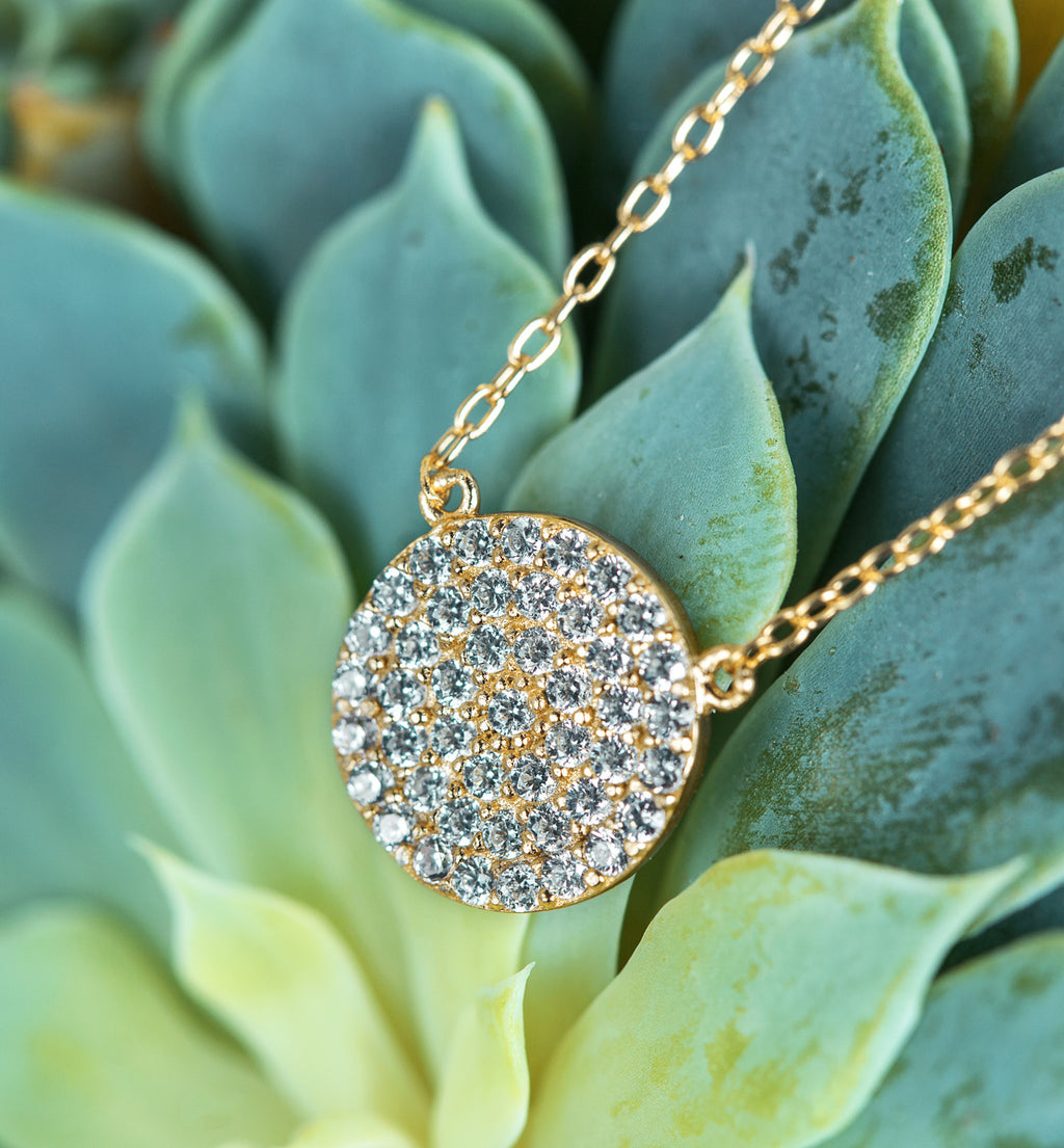 Crystal Disc Gold Necklace, Necklaces - AMY O. Jewelry