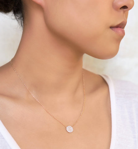 Crystal Disc Rose Gold Necklace, Necklaces - AMY O. Jewelry