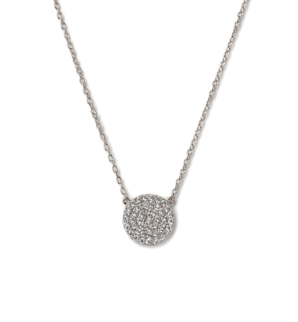 Crystal Disc Silver Necklace, Necklaces - AMY O. Jewelry
