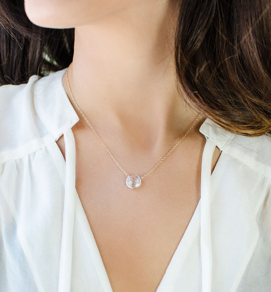 Gold Crystal Necklace, Necklaces - AMY O. Jewelry