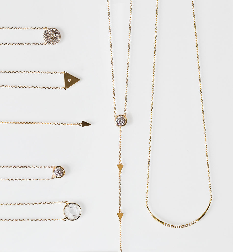 Gold Triangle Lariat Necklace, Necklaces - AMY O. Jewelry