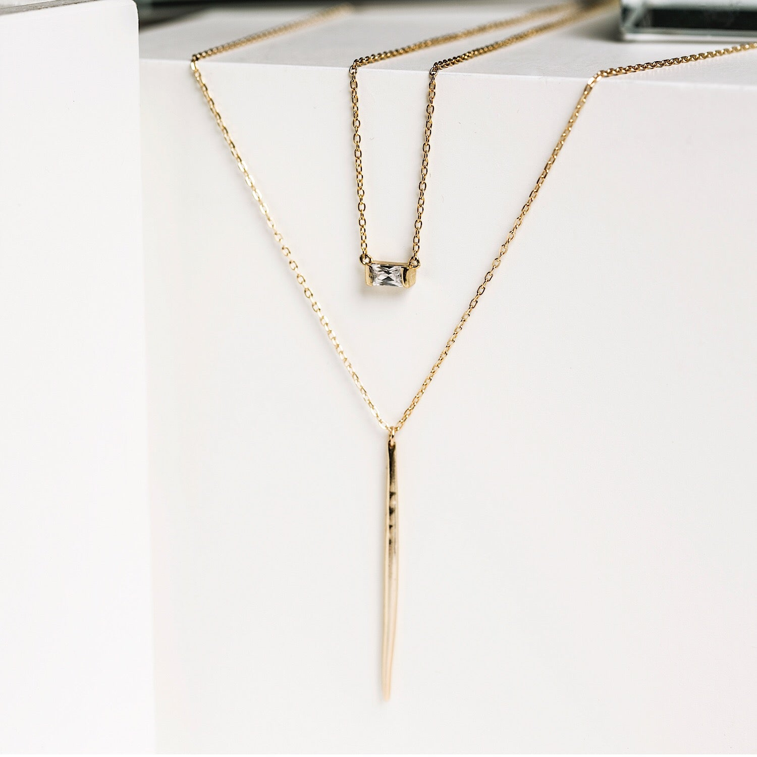 Sofia Baguette Necklace, Necklaces - AMY O. Jewelry