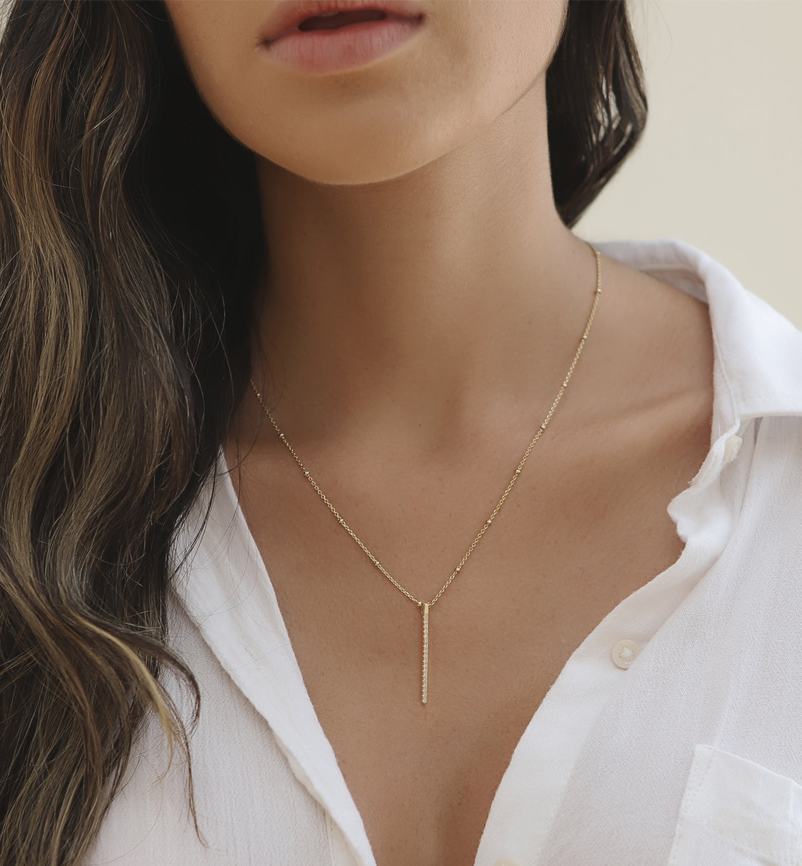 Dainty Pave Bar Necklace, Gold Pendant Necklace