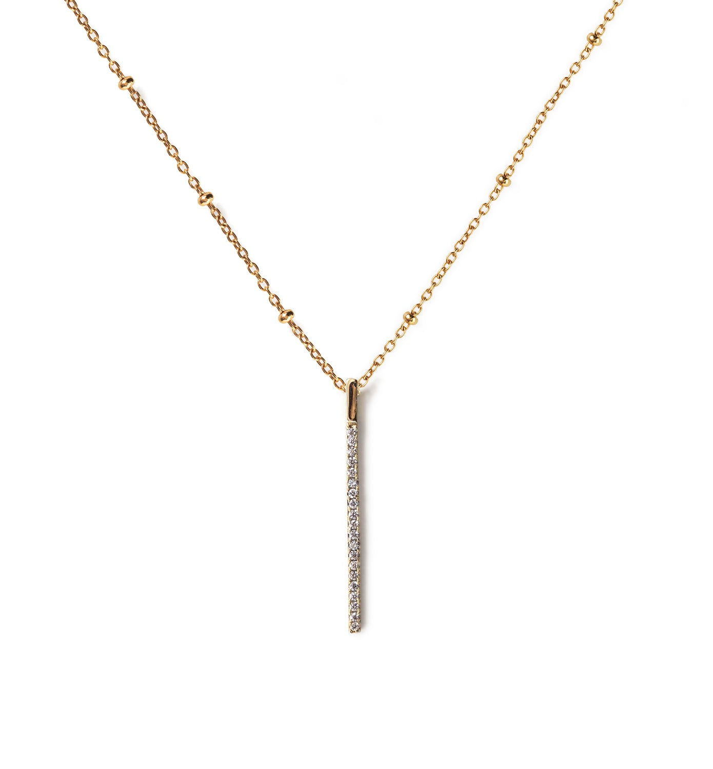 Gold Bar Beaded Chain Necklace, Necklaces - AMY O. Jewelry