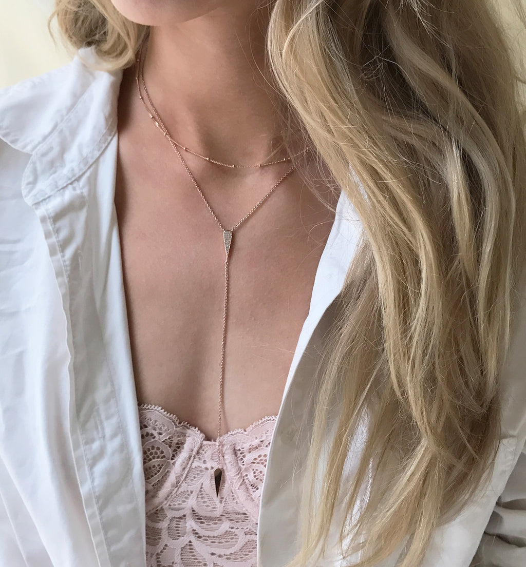 Gigi Rose Gold Drop Lariat, Necklaces - AMY O. Jewelry