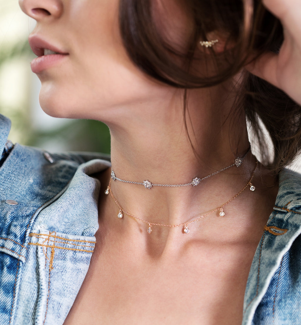 Sienna Rose Gold Dangle Choker, Necklaces - AMY O. Jewelry