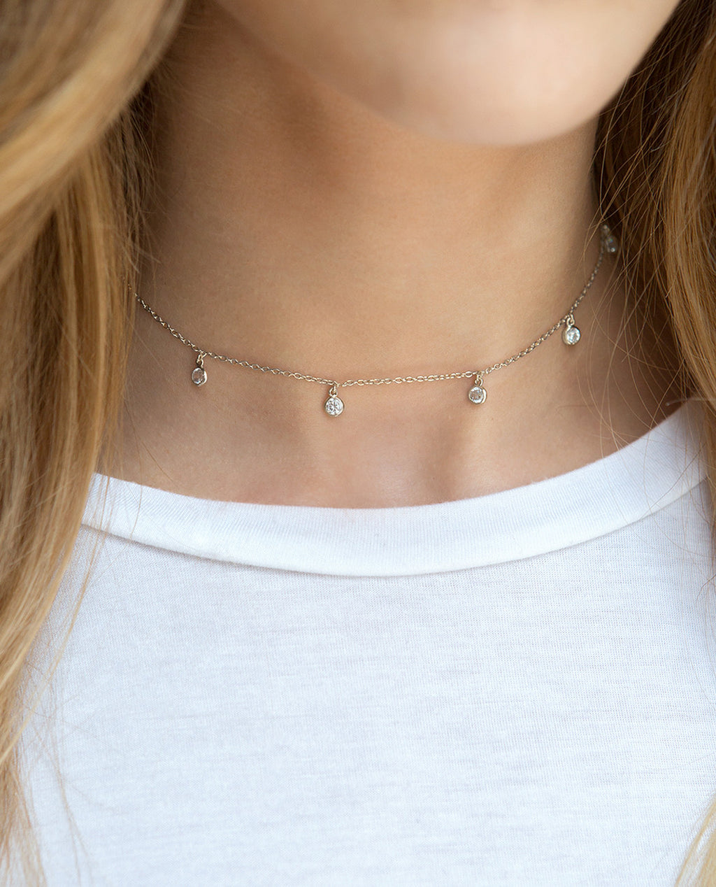 Sienna Silver Dangle Choker, Necklaces - AMY O. Jewelry