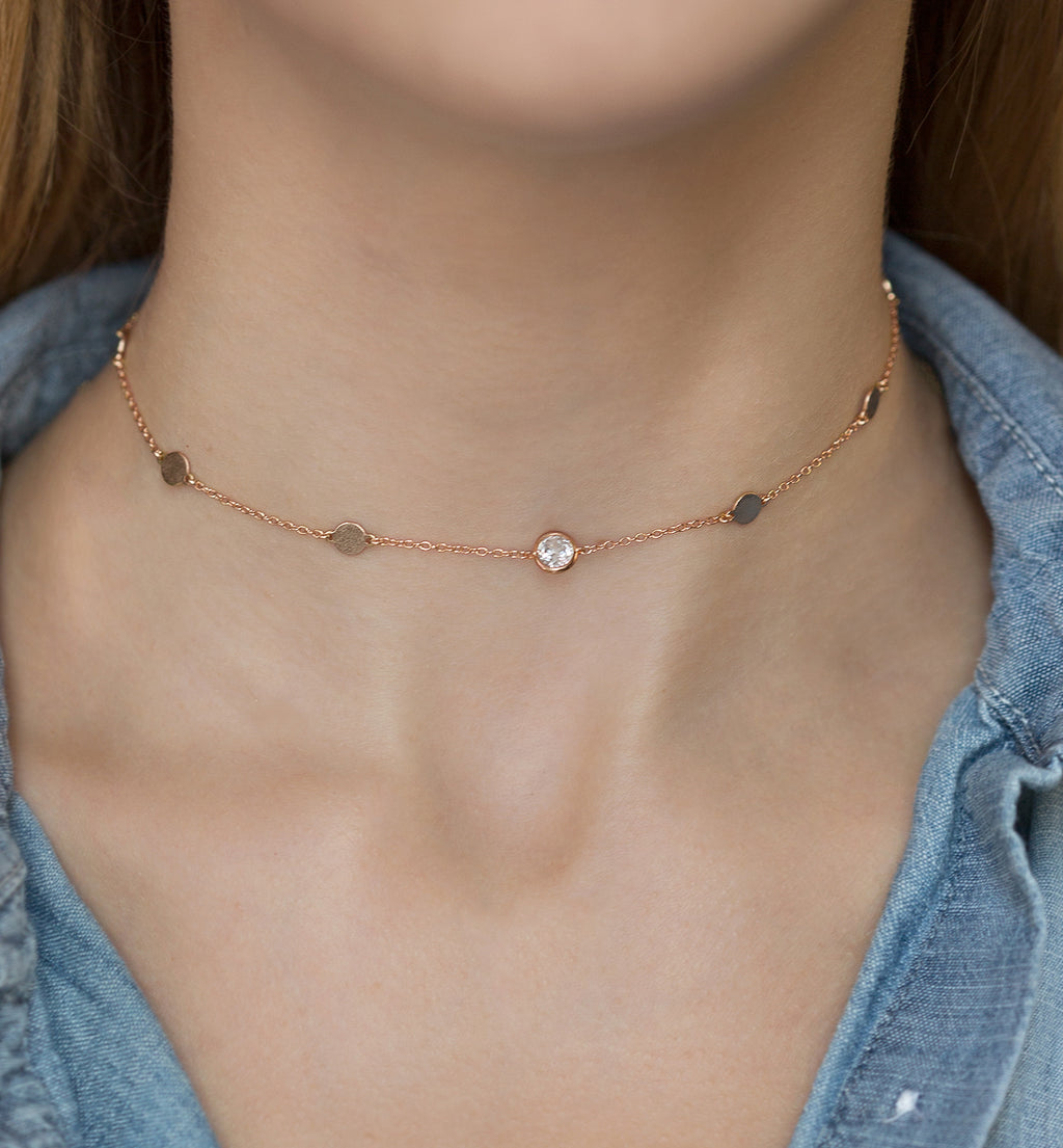 Serena Rose Gold Choker, Necklaces - AMY O. Jewelry