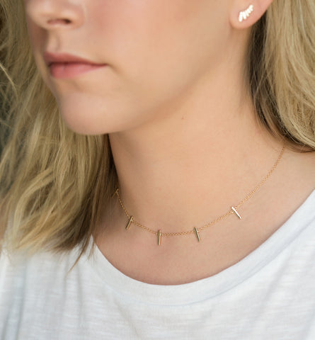 Gold Bar Choker, Necklaces - AMY O. Jewelry