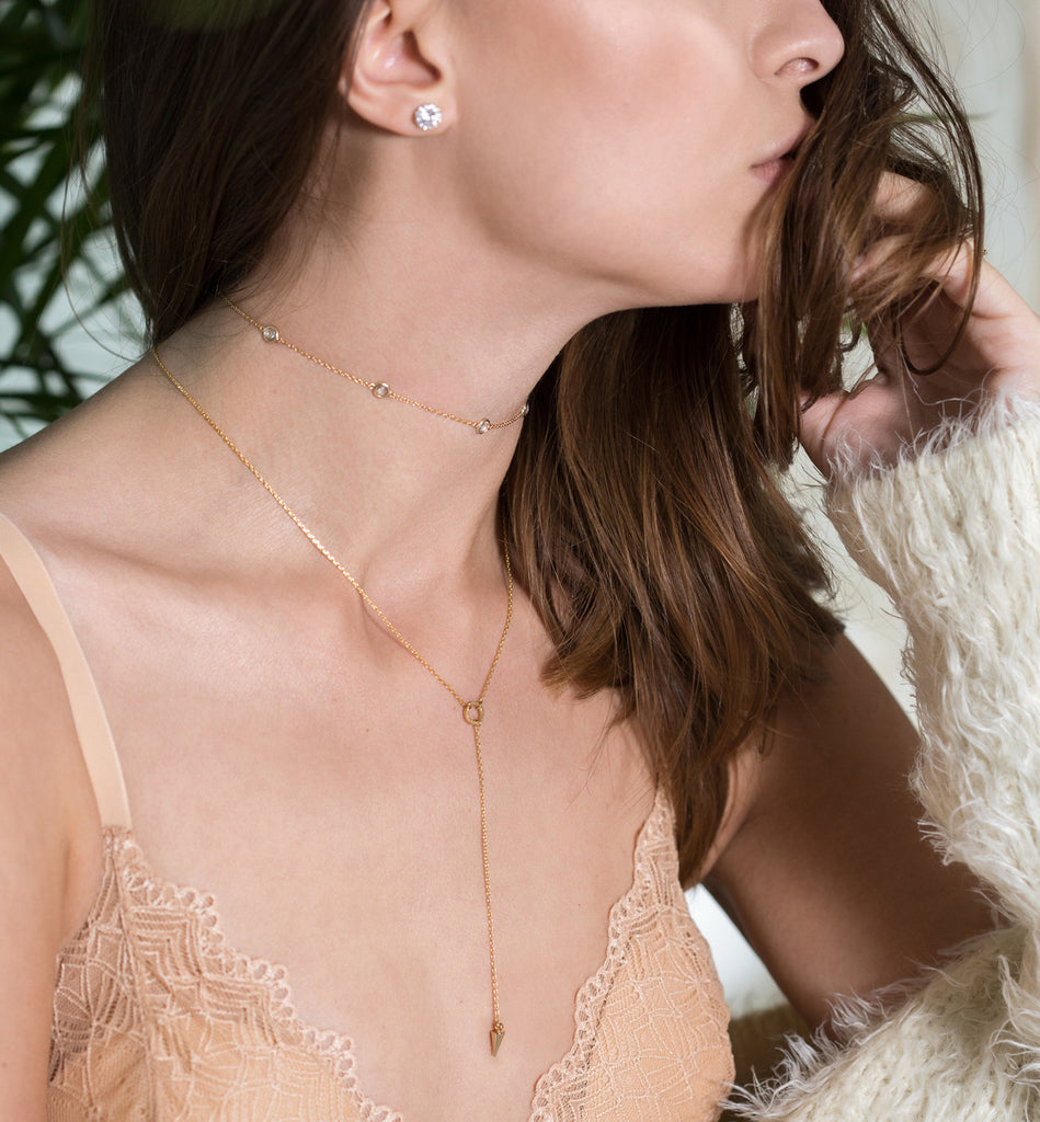 Sienna Petite Crystal Gold Choker, Necklaces - AMY O. Jewelry