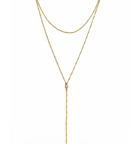 Gigi Gold Wirewrap Choker Lariat, Necklaces - AMY O. Jewelry