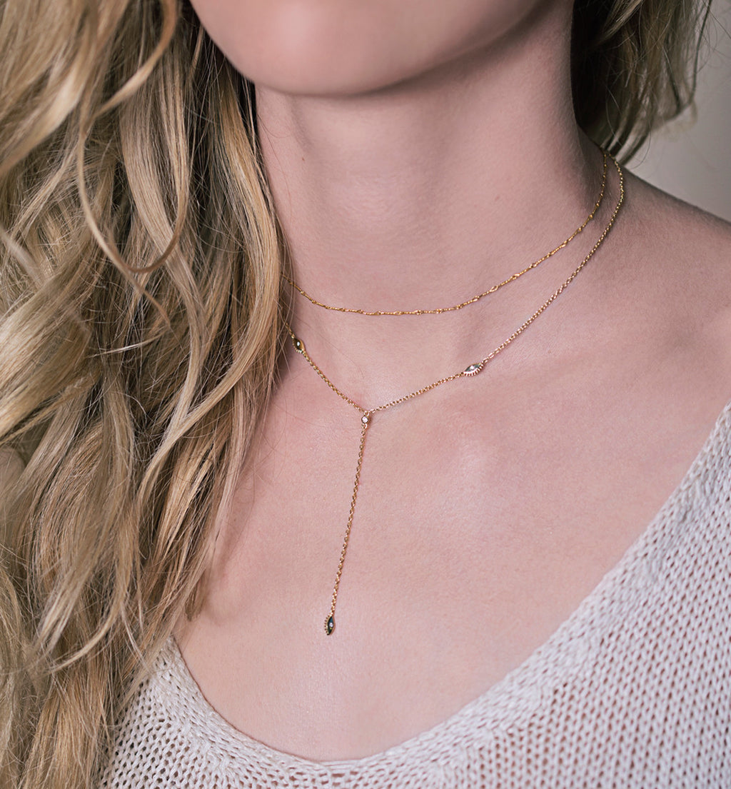 Aya Choker Lariat Necklace, Necklaces - AMY O. Jewelry