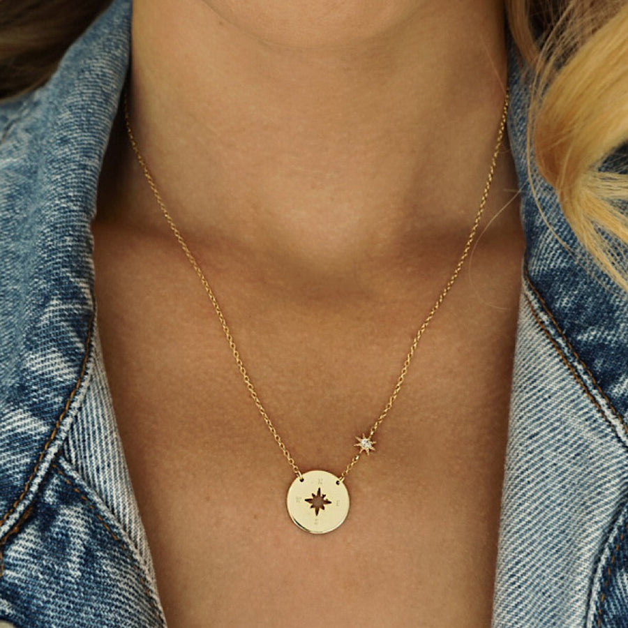 Savannah Compass + Star Necklace, Necklaces - AMY O. Jewelry