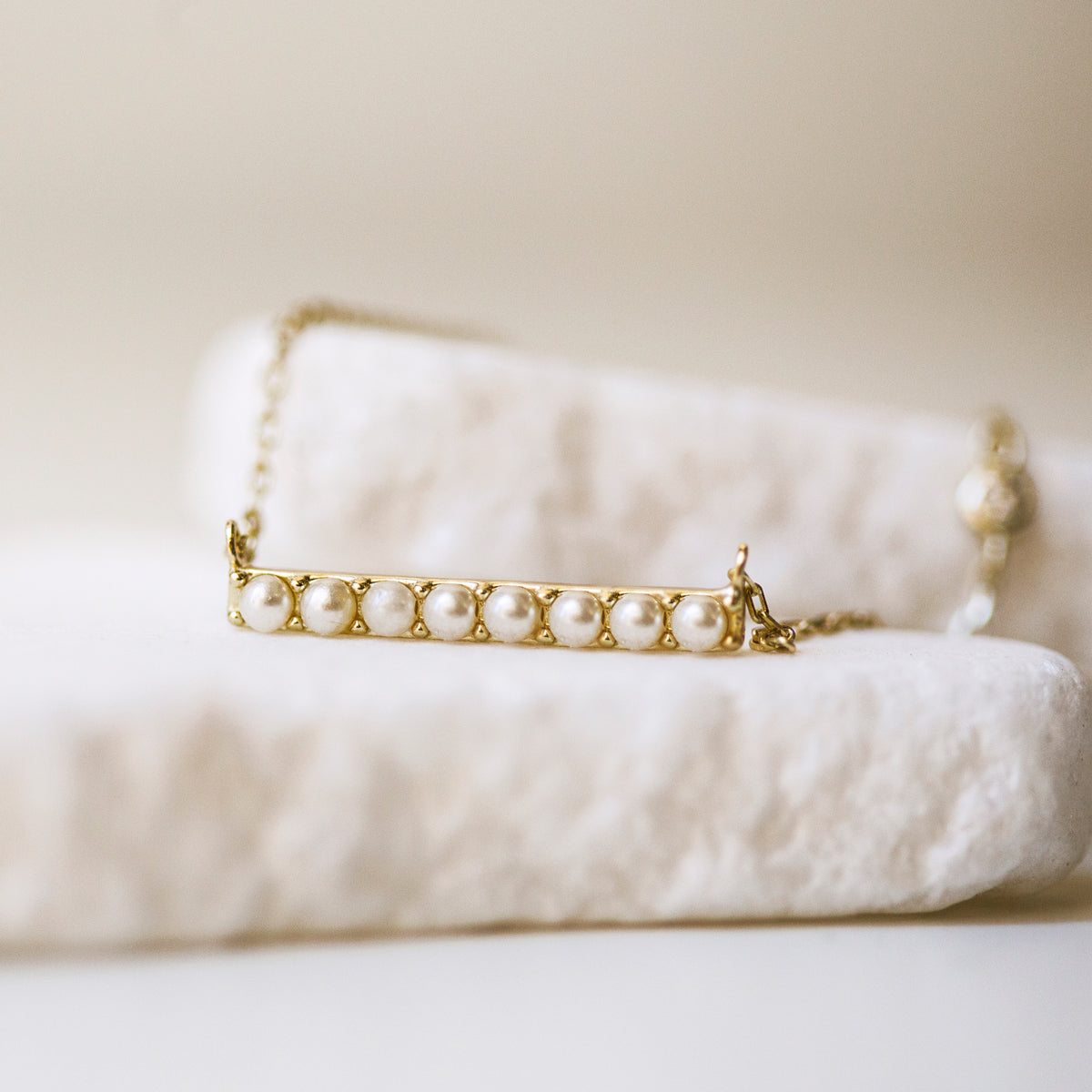 Selene Pearl Bar Necklace, Necklaces - AMY O. Jewelry