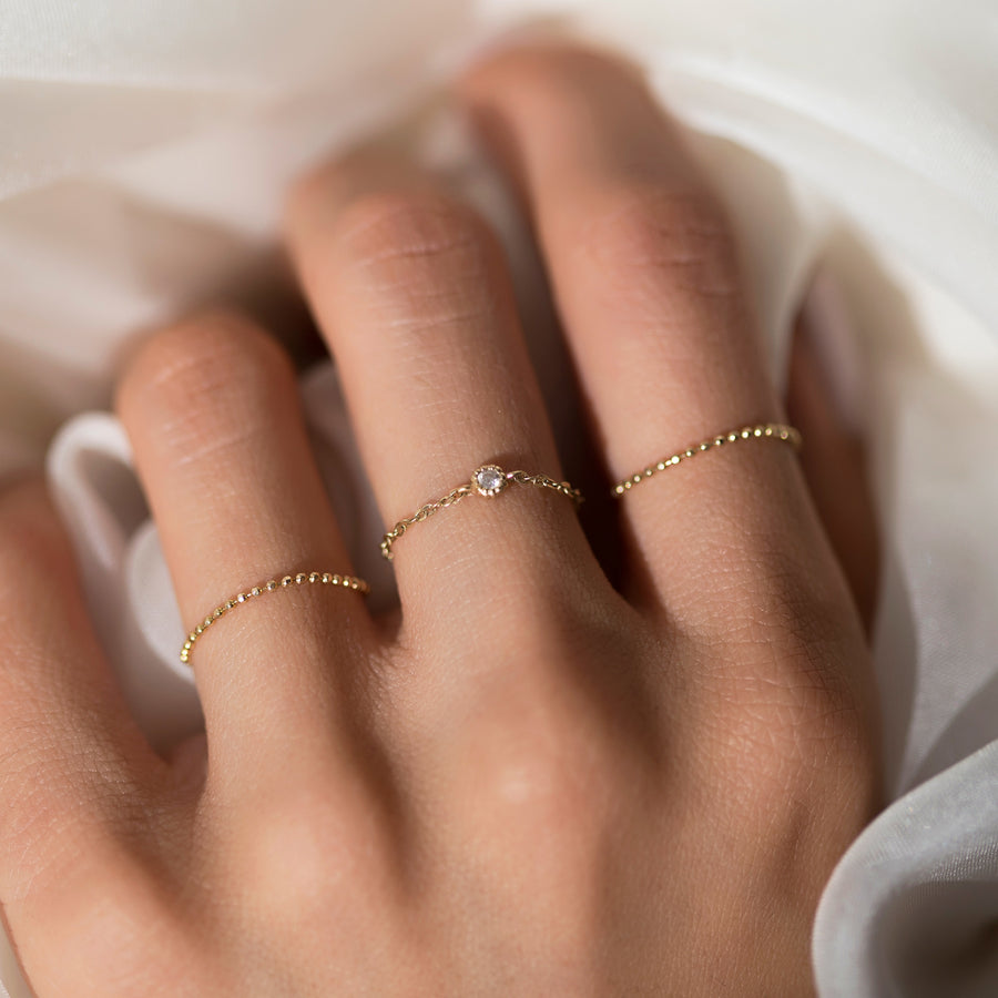 Solid Gold Bead Chain Ring, Rings - AMY O. Jewelry