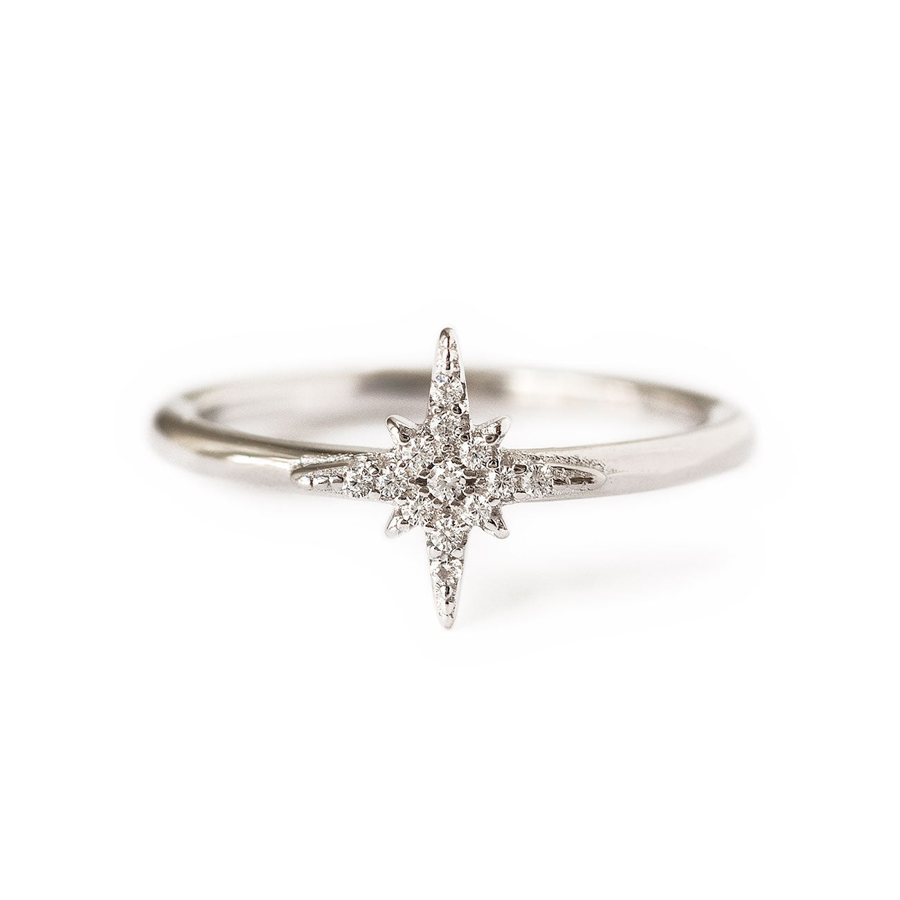 Cubic Zirconia Sterling Silver Pave Star Ring