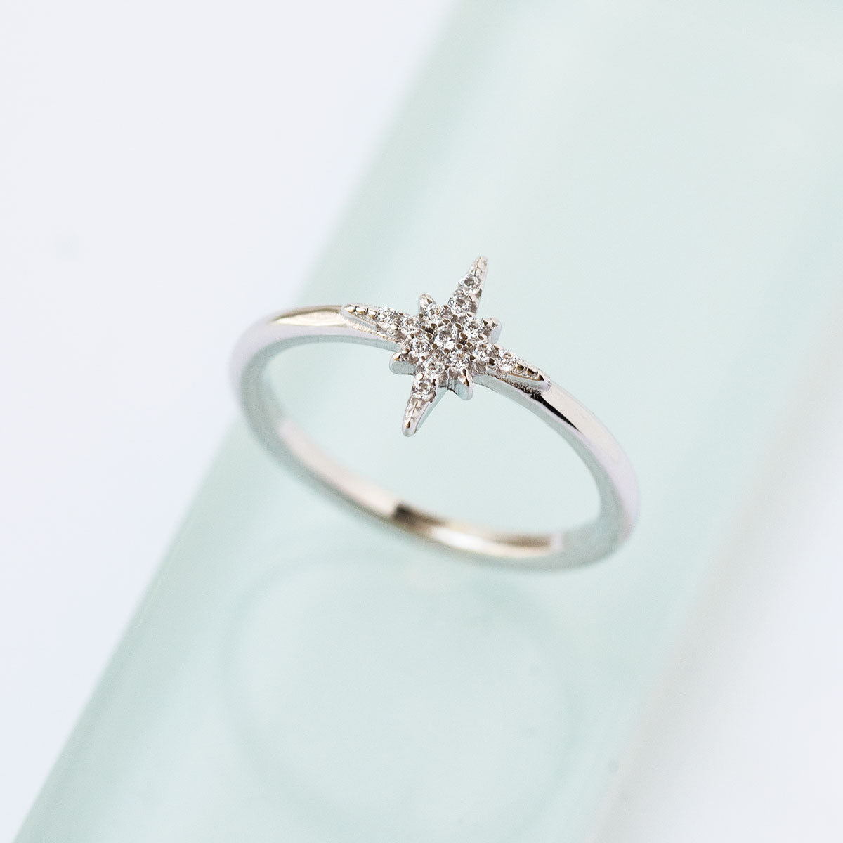 Sterling Silver Star Ring set with Pave Cubic Zirconia Stones
