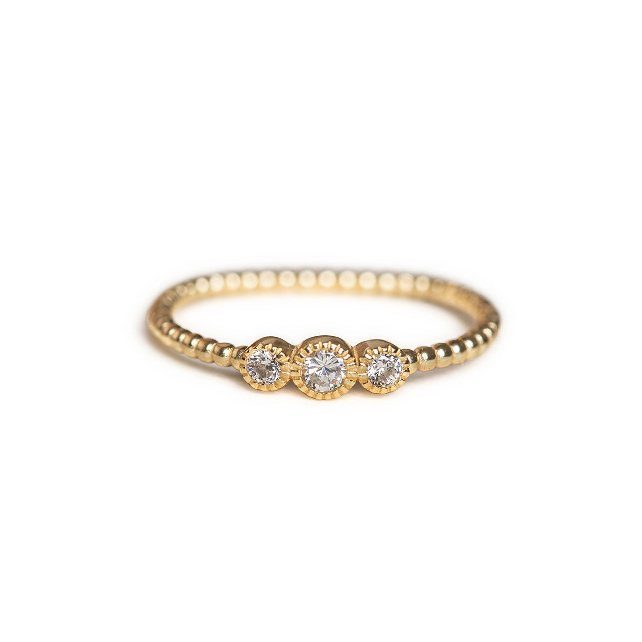 Minimal three stones Gold trio ring