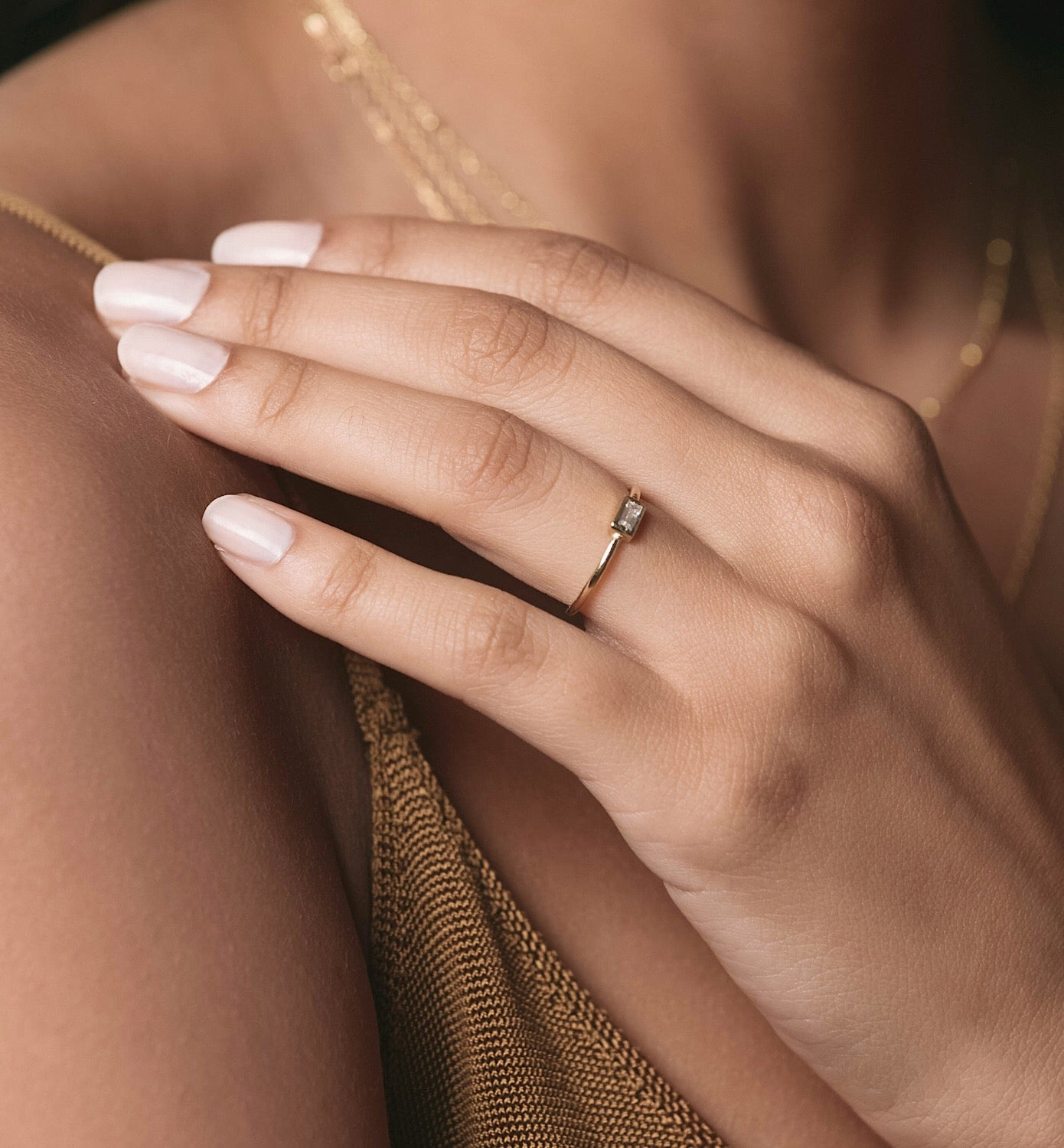 Dainty Gold Ring with CZ Baguette Stone